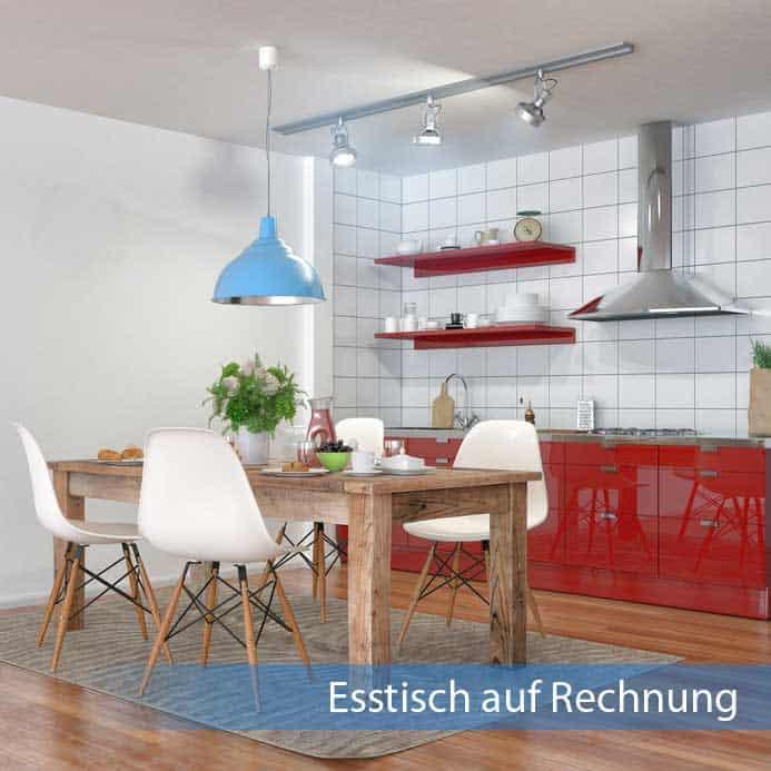 Esstisch auf Rechnung aus massivem dunklen Holz in moderner roter Küche
